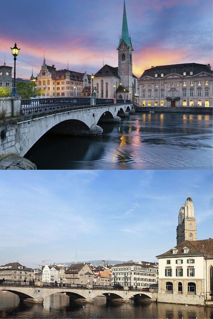 Zurique é a maior cidade da Suíça e agrada qualquer visitante: tem vista para os Alpes cobertos de neve, mais de 50 museus, 100 galerias de arte, os melhores hotéis, lojas de alto padrão e restaurantes incríveis. #zurich #zurique #switzerland #suíça