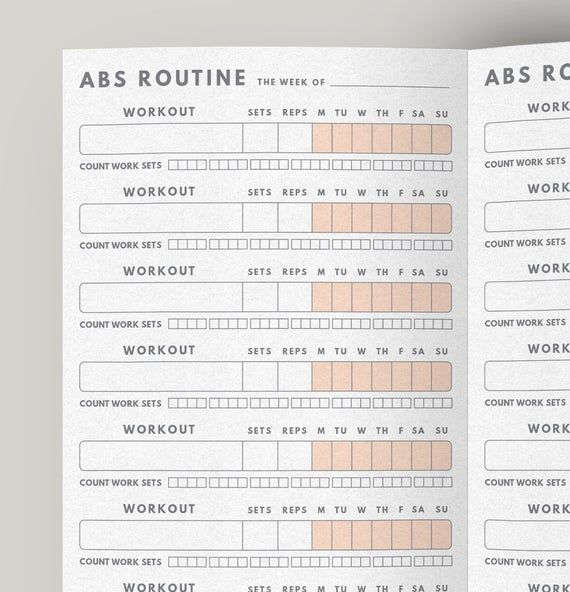 Fitness Planner Abs Workout Routine Fitness journal | Etsy