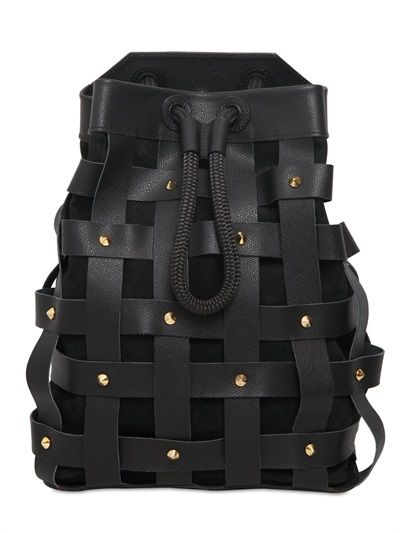 SALAR JULES WOVEN LEATHER BACKPACK WITH STUDS - http://lustfab.com/shop-lust/salar-jules-woven-leather-backpack-studs/