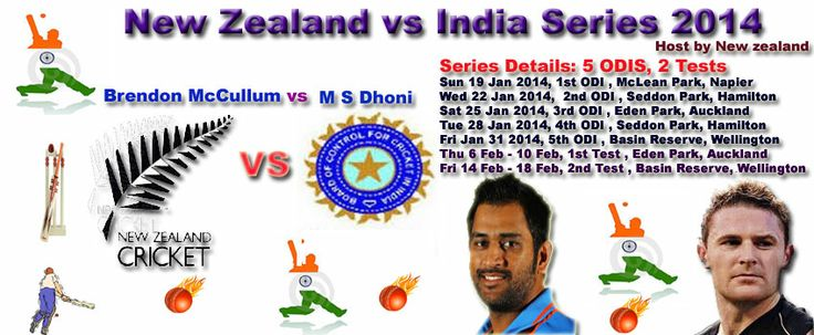 New Zealand  vs India 2014 - Host By New Zealand  Schedule (January-February) 2013 cricket Tournament will start on 5 December  2013 in New Zealand  Play Ground . India tour of New Zealand 2014 will begin on Sunday, January 19, 2014 in New Zealand