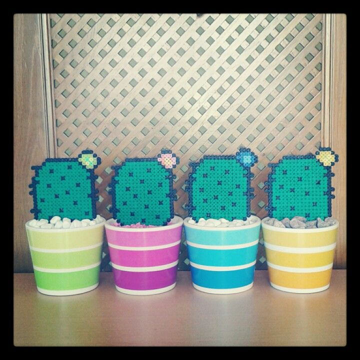 Colourful cactus with hama beads by Rosi Pixels