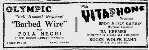 From September 1927, an appearance by Roger Wolfe Kahn & Orchestra at the  Olympic Theater, Pittsburgh.  http://youtu.be/VNjTqvEFsos