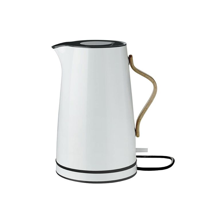 The Stelton Emma kettle is an aesthetically attractive, light blue steel jug with clean lines that matches the rest of the Emma range's blue tone-in-tone shades. The Emma electric kettle is easy to operate. The kettle can hold 1.2 L and is supplied with a removable limescale filter, dry boil safety switch and switches off automatically when the water has boiled. The Emma electric kettle is so attractive you can even put it on the table.