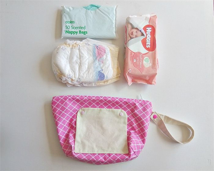 Pink and white quatrefoil nappy bag. nappy wallet. nappy clutch.