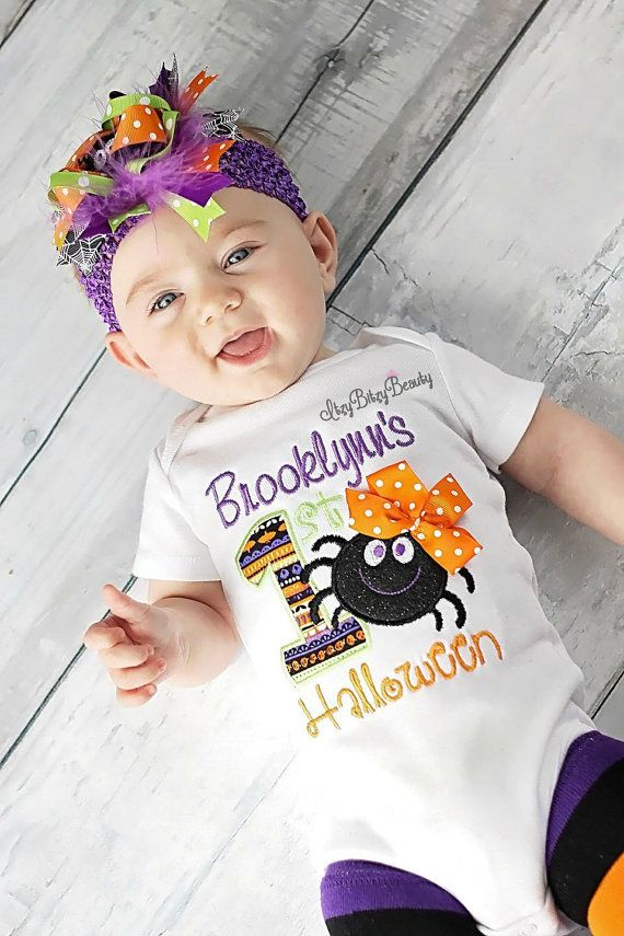 First halloween baby girl OTT spider outfit headband embroidered personalized bodysuit orange green purple