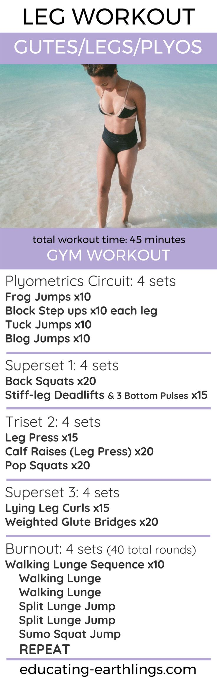 Leg Workout: Push-Pull-Legs Split, glute workout, plyometrics, booty workout, butt workout, squats, women's fitness, vegan fitness, plant based life, plant based fitness, workout plans, free workouts, free workout plans