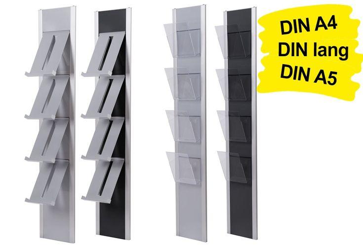 Der nach neuesten Erkenntnissen gestaltete Wandprospekthalter A4 QUATTRO (4x DIN A4 / 8x DIN lang / 4x DIN A5) kann mit bis zu 4 Prospektablagen aus Stahlblech oder Polycarbonat (transparent) und in zwei Farbkombinationen geliefert werden: silber/silber oder silber/schwarz. https://www.messepartner.de/shop/wandprospekthalter/wandprospekthalter-a4-quattro/