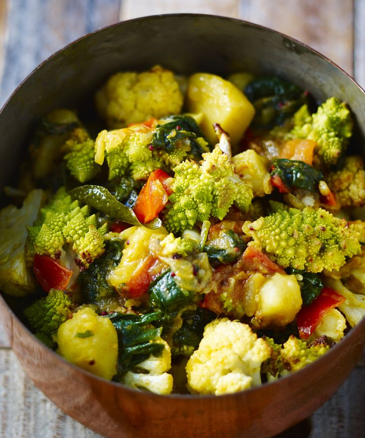 Saag aloo just got an upgrade from nutty roasted gobi (cauliflower to you and me) in this exceptional and easy vegetarian curry.