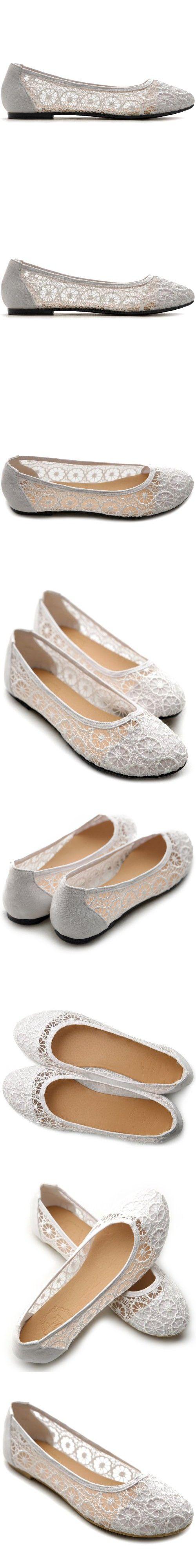 Ollio Women's Ballet Shoe Floral Lace Breathable Flat(8.5 B(M) US, White)