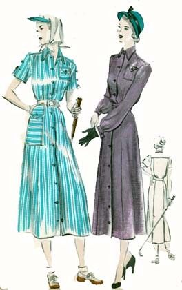 1940s Shirtwaist Dress with Huge Hip Pocket Butterick 5081 Vintage 40s Classic SWING ERA blue striped grey button front shirt style long short sleeves vintage fashion  Sewing Pattern Size 16 Bust 34 Uncut FF by sandritocat on Etsy