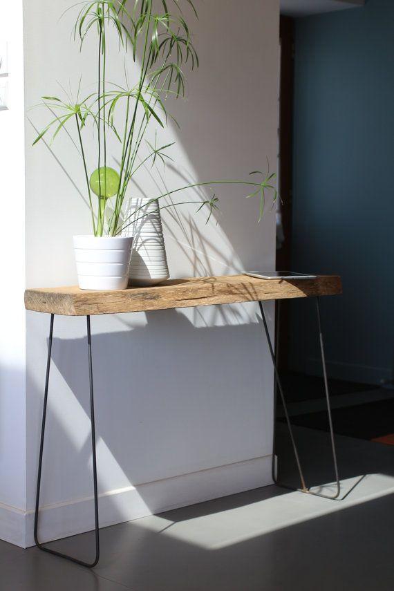 Table d'appoint bois et métal van AntoineGmobilier op Etsy, €200.00