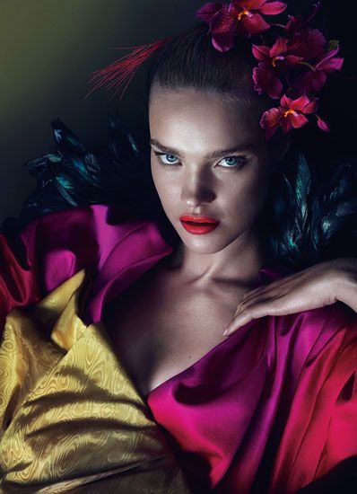 Natalia Vodianova wears Burberry Prorsum silk satin coat. Angels the Costumiers obi.