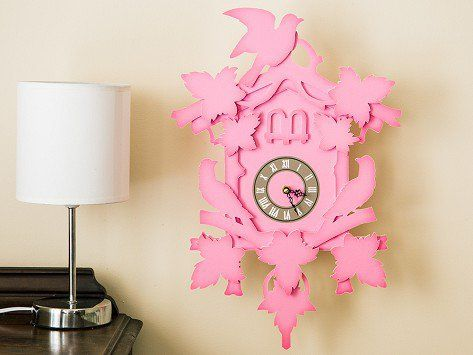 """FunDeco's Flew the Coop No Cuckoo Cuckoo Clocks give new meaning to """"fun décor."""" These modern cuckoo-less clocks feature a real quartz clock surrounded by a lightweight, environmentally sustainable paperboard frame. Made in the USA with a quirky take on baroque style, FunDeco clocks look great in dorm rooms, kids' rooms . . . anywhere there's room for fun."""