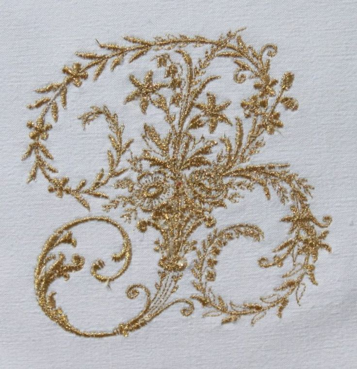 Vintage French Linen Monogram Cushion Cover Any Initial Gold or Silver