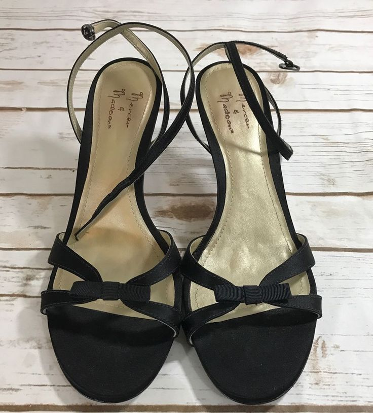 Mercer & Madison Womens Black  Strappy Heels Sz 8 #MercerMadison #Strappy