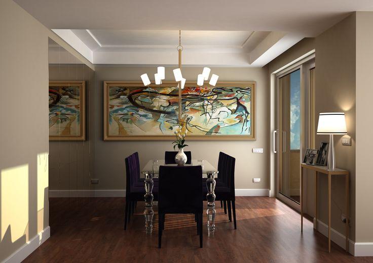 Render fotorealistico di una sala da pranzo