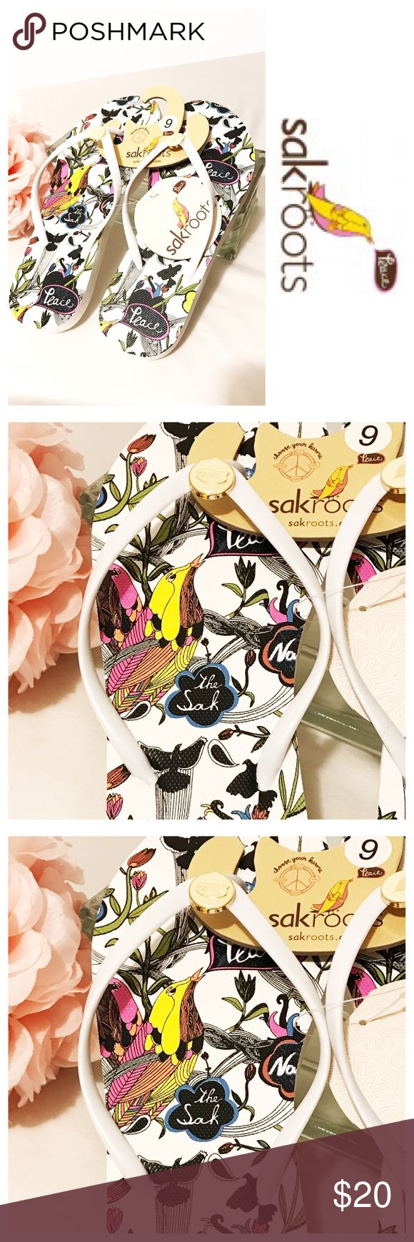 NWT Sakroots Flip Flops Super cute white flip flops with black and white floral and bird pattern with splashes of color and the colorful Sakroots logo bird.  White runner strap with cream colored enamel logo with bird and peace Sakroots Shoes Sandals