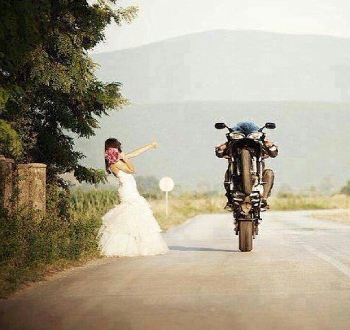 Runaway bride, motorcycle wedding, wedding dress, bride motorcycle,