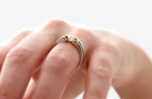 The Village Goldsmith - Circlipd Brilliant. Clasping the diamond like jaws with hard dramatic curves.