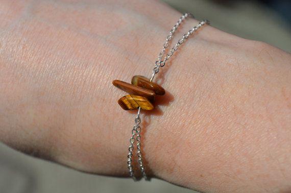 Tigers Eye Bracelet Dainty Silver Chain Bracelet Birthstone Jewelry 3 Stone…