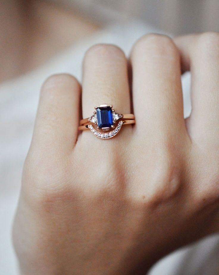Anna Sheffield Blue Sapphire Bea Ring & Rose Gold Crescent Band