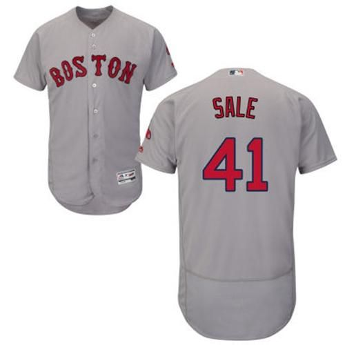 d6396bca5 Red Sox  41 Chris Sale Grey Flexbase Authentic Collection Stitched MLB  Jersey