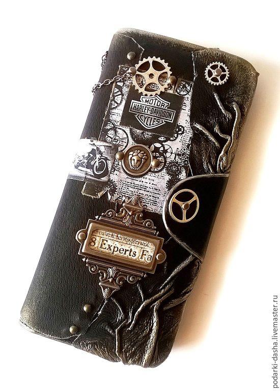 Купить Портмоне-кошелек, мужское, СТИМПАНК - кожаный, изделия из кожи, мужской подарок, черный, именной
