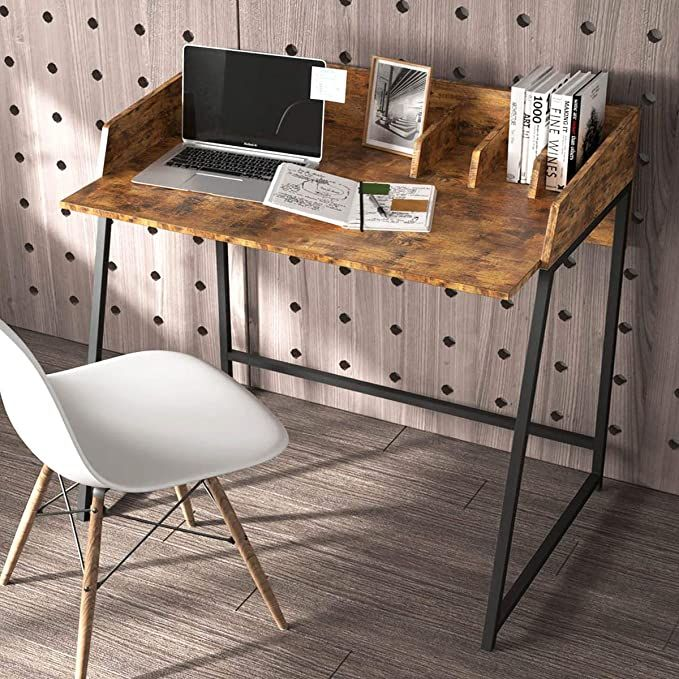 Amazon Com Ironck Small Desk Computer Table For Small Place Work Table Study Desk With Raised Corner And With D In 2020 Small Desk Computer Table Small Computer Desk