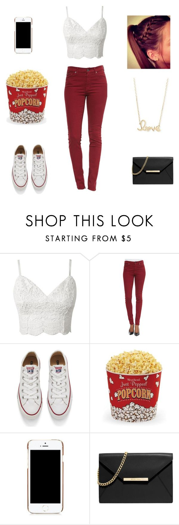 """Movie theatre outfit"" by joselyn-jimenez13 ❤ liked on Polyvore featuring 7 For All Mankind, Converse, West Bend, Moschino, MICHAEL Michael Kors and Sydney Evan"