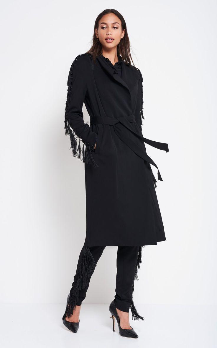 Tassels Midi Trenchcoat black   1