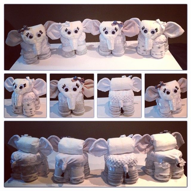 Diaper and towel animals.