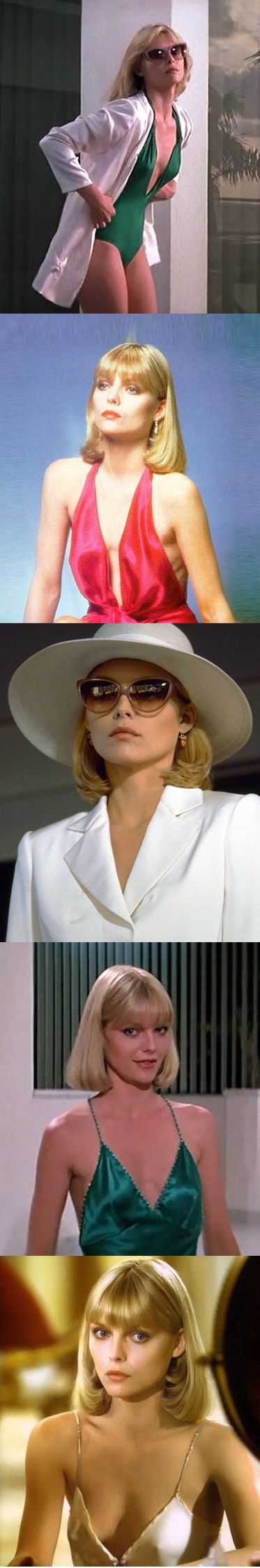 "Scarface -, Michelle Pfeiffer played the girl everyone wanted ….It proved to b the breakout role she needed after her film debut in the dismal ""Grease 2"" movie."