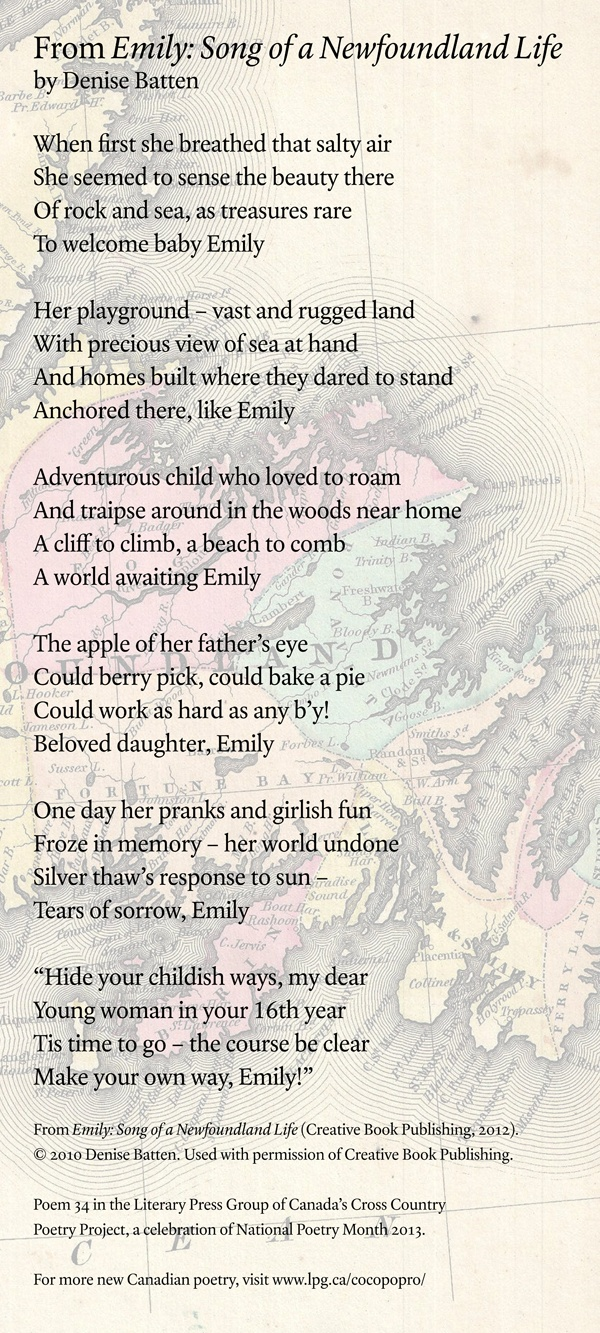 Poetry Month Day 28: From Emily: Song of a Newfoundland Life by Denise Batten (Creative Book Publishing)
