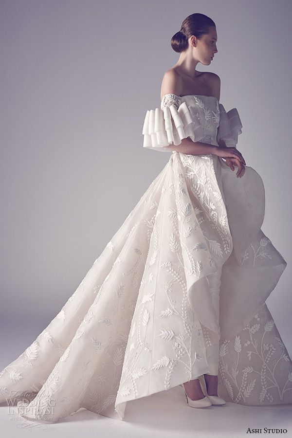 ashi studio couture 2015 off the shoulder straigh across neckline flounce overskirt with pants 2nd view