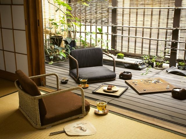Love the wooden deck chilling space and Japanese style chair