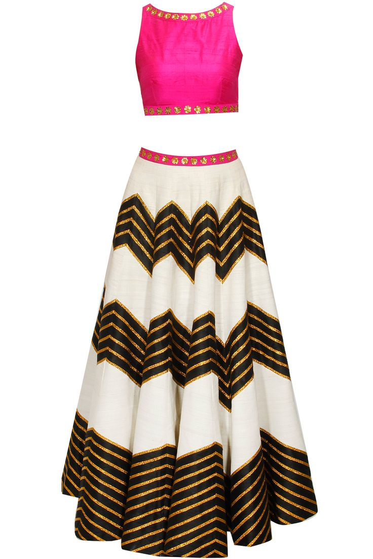 Ivory and black lehenga set with pink embroidered blouse and dupatta