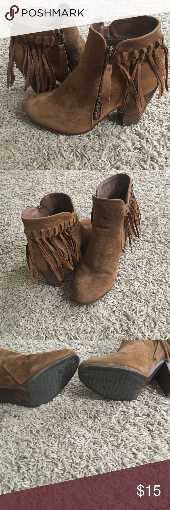 Fringe ankle boots Boutique bought worn once fringe ankle booties breckelles Shoes Ankle Boots & Booties