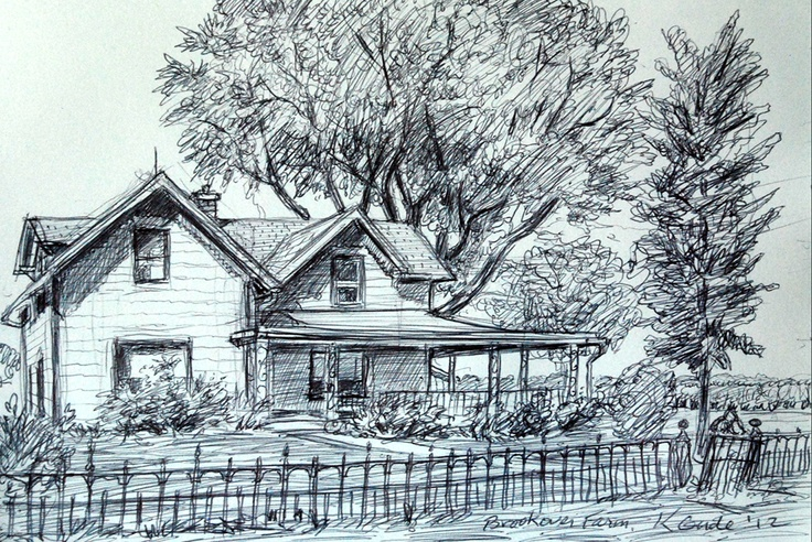 6 x 8 inch pen and ink drawing of Indiana farm house --by Karl Gude
