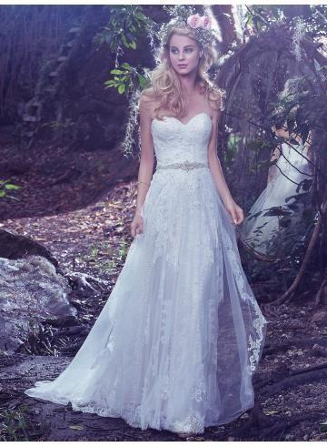 abiti da sposa da sposa giardino pizzo applique