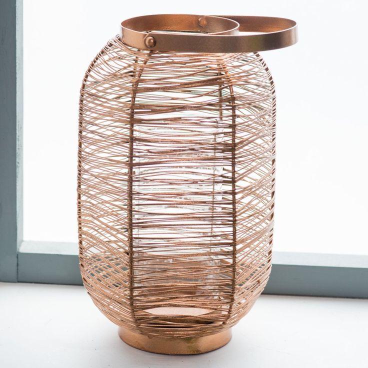 Kiran 15.75 inch Copper Painted Lantern - Lanterns at Hayneedle