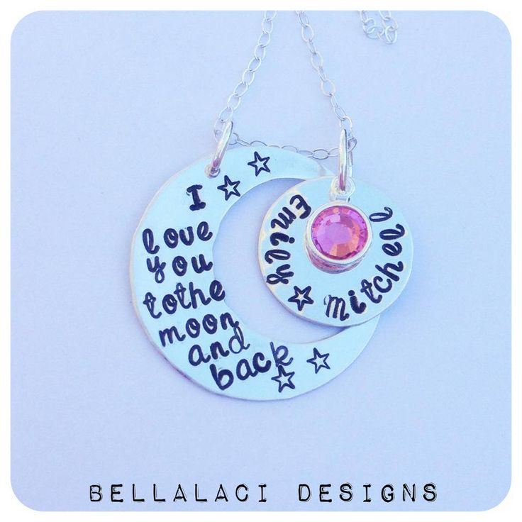 """Sterling Silver """"Moon & Back"""" handstamped Necklace. """"I love you to the moon and back""""."""
