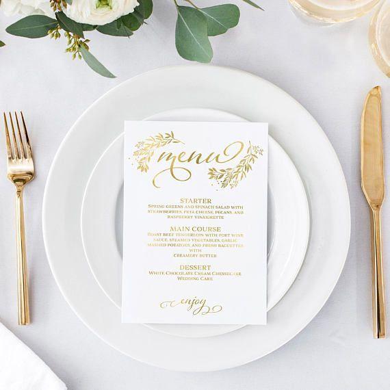 Gold Menu Template - Editable Menu - Dinner Menu Cards - Wedding Menu - Menu Printable - Printable Menu - Dinner Menu - DIY Menu Card #weddingmenu
