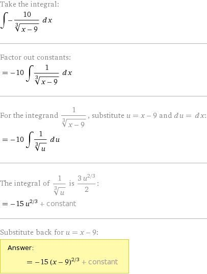 Number 6. Just follow these steps to find the integral by itself without the upper and lower bounds of 1 and 9. Then, once you evaluate the integral, you plug in your 1 and 9 to get your final answer. (p.s. your numbers may be different, but the concept is still the same). On another note, after plugging in my numbers, I got positive 60 as my final answer. This is to check to see if you're on the right track.