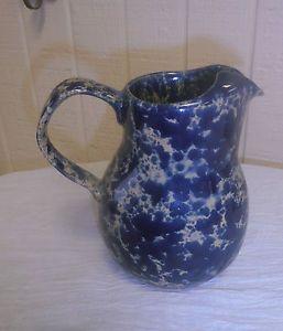 "bennington pottery | Bennington Pottery Blue Agate Spatterware Spongeware Pitcher 6"" | eBay"