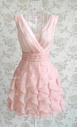 Silk Pink Frilly Dress S M ~ Shipping Included $48.51