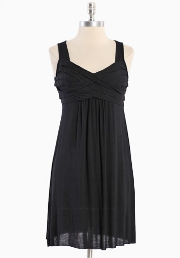 Simple Gathering Pleated Dress >>  Love this simple black jersey dress, I think it would fall really nicely on pretty much anyone and looks comfortable too, great for dancing! $47