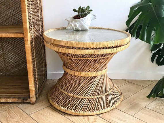 Wicker Accent Table Round Woven Rattan Coffee Table Bamboo Side Table 70 S Wicker Plant Stand B Wicker Coffee Table Rattan Coffee Table Glass Top Table