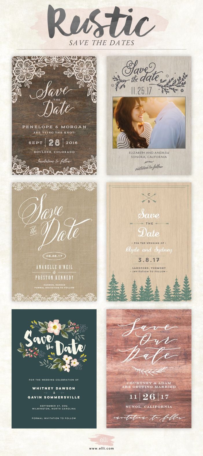 destination wedding save the dates and invitations%0A Rustic Save The Date Cards  u     Photo Announcements