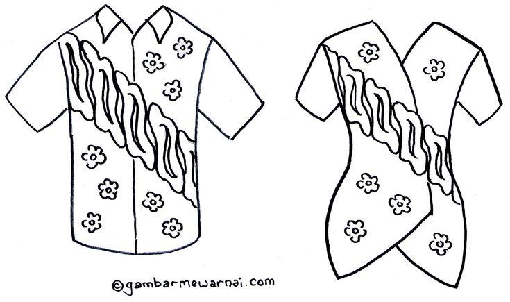 Gambar Mewarnai Baju Batik Tugas Anak Pinterest Projects To
