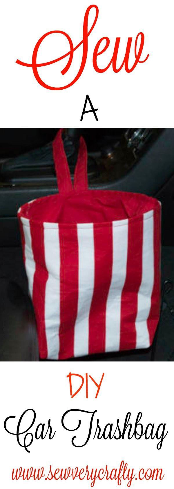Sew an easy DIY car trash bag. Free pattern and tutorial.  #sew #cartrashbag #trashbag #tutorial #pattern